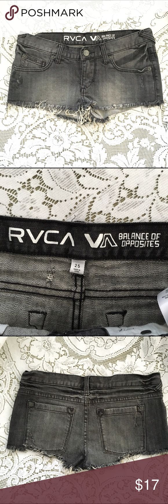 RVCA Black Jean Cutoff Distressed Shorts - Size 25 Waist Band - 30 inches/ Rise 6.5 inches.  Buying pre-owned clothing is an ethical way to have a fashionable wardrobe.  Thank you for visiting my closet. RVCA Shorts Jean Shorts