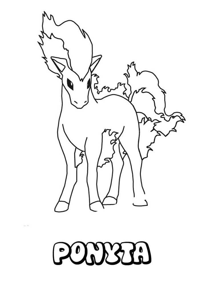 Ponyta Pokemon coloring page. More Fire Pokemon coloring sheets on hellokids.com