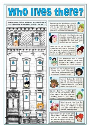 This is a reading activity for beginners. The challenge is guessing who is who in a building reading their descriptions. The second part is to describe three of the neighbours looking for their details among the clues given for the others in exercise 1. Once students have the description of alll the neighbours done, they complete some questions about them.  Finally they choose their favourite neighbour and say why Key provided. - ESL worksheets