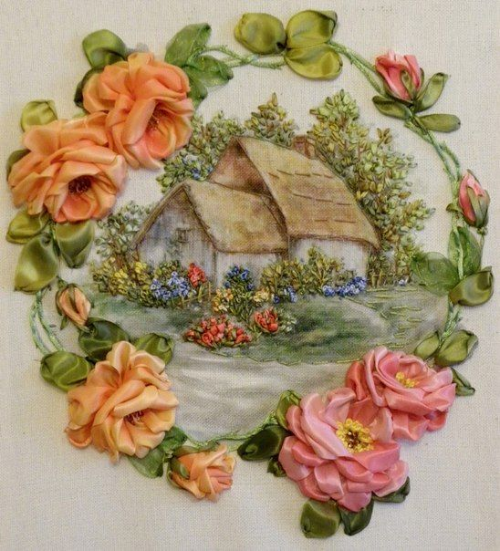 silk ribbon embroidery rose, silk ribbon designs, silk ribbon embroidery