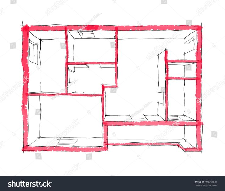 2D illustration freehand sketch rendering of empty roofless home apartment