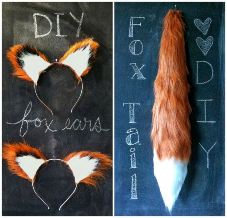 Get sly without sewing. Ears tutorial here, tail here.
