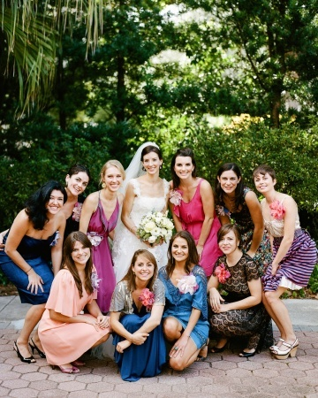 """From the site- """"In addition to her bridal party, Lauren had what southerners refer to as a """"house party"""" -- close friends who help greet guests and get the party going. She asked each female to wear a jewel-toned frock, and gave them a large fabric flower pin. The bride made the blooms on her morning subway commute and sent them to the girls accompanied by heartfelt notes of thanks."""""""