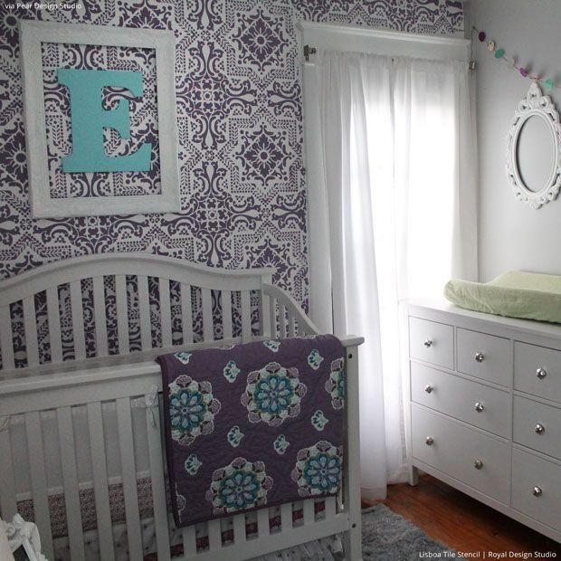 Lisboa Tile Wall Stencils in Trendy Purple Nursery Decor - Royal Design Studio