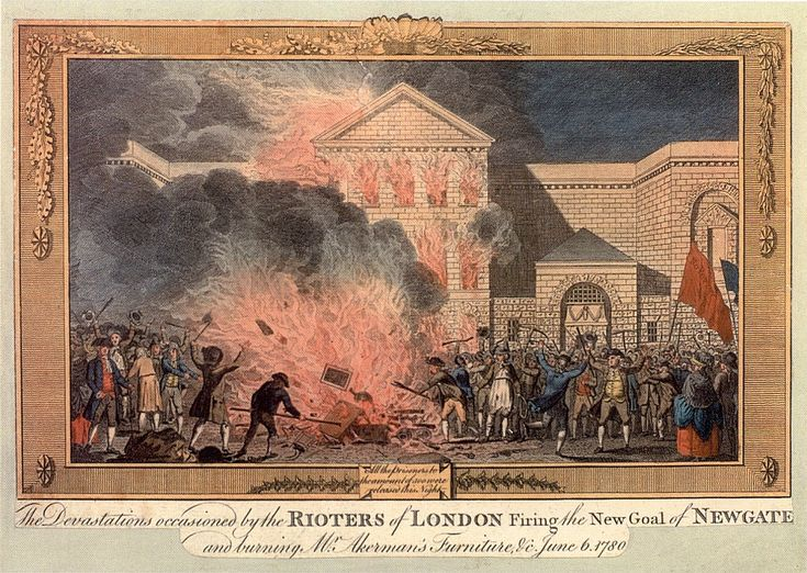 A view of rioters setting fire to Newgate Prison in 1780 during the Gordon Riots. Various banners can be seen with anti Papist statements on.-- also good web resource about all the 18th c. jails in London