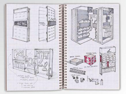 hand sketch Retail Fixture Design by Chris Rickmon-Swan at Coroflot.com