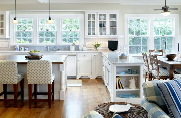 Gorgeous open floorplan, cabinets, windows, blue accents, everything really.
