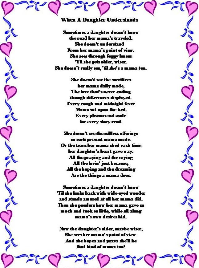 When a daughter understands; poem from a daughter to her mother