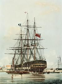 """The East Indiaman """"Repulse"""" (1820) in the East India Dock Basin"""