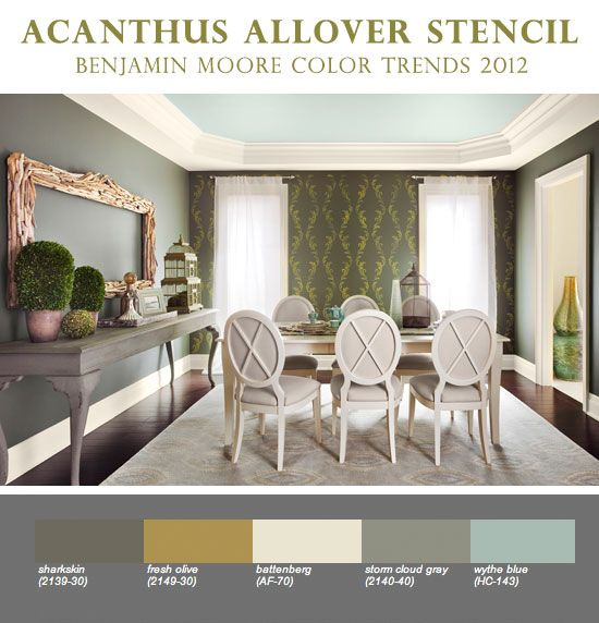 Stencils with Benjamin Moore Color Trends 2012. Beautiful wall stenciling! http://blog.cuttingedgestencils.com/wall-stenciling-with-benjamin-moore-color-trends-2012.html #stencils #CuttingEdgeStencils #paintideas