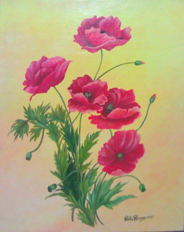 """papaveri"" olio su tavola 40 x 50 -2005 autore Natalia Albanese"