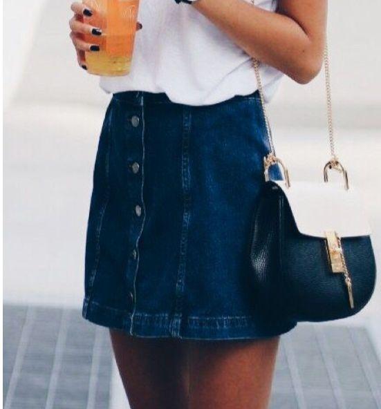High Waisted A Line Button-Down Mini Denim Skirt