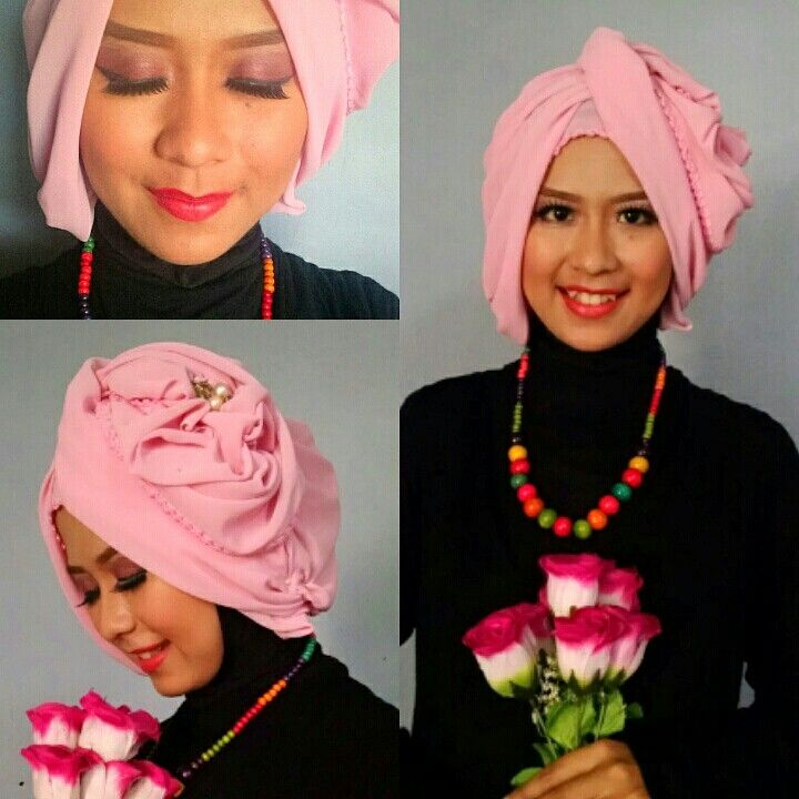 Hijab style and pink make up for party.
