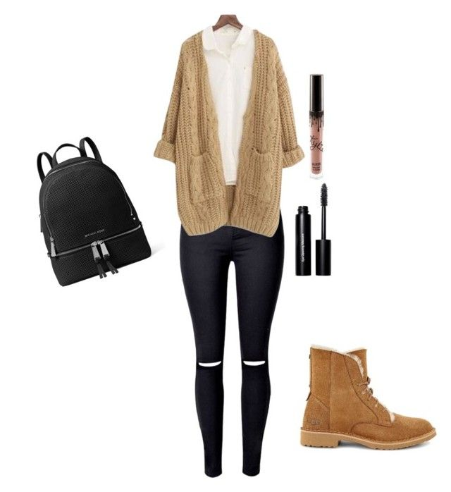 """Cold days outfit * school *"" by malina-dobrescu ❤ liked on Polyvore featuring Chicnova Fashion, UGG, MICHAEL Michael Kors and Bobbi Brown Cosmetics"