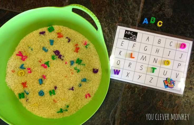 Hide letters in rice for alphabet matching game