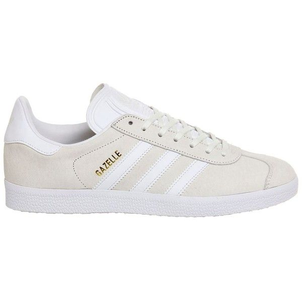 Gazelle Trainers by Adidas Supplied by Office (£75) ❤ liked on Polyvore featuring shoes, sneakers, white, adidas sneakers, adidas trainers, adidas, white shoes and white trainers