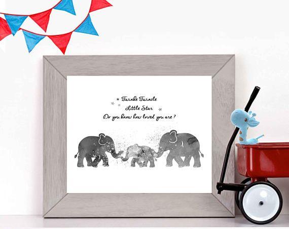 Boys Nursery Print Boys Nursery Art Elephant Nursery Art
