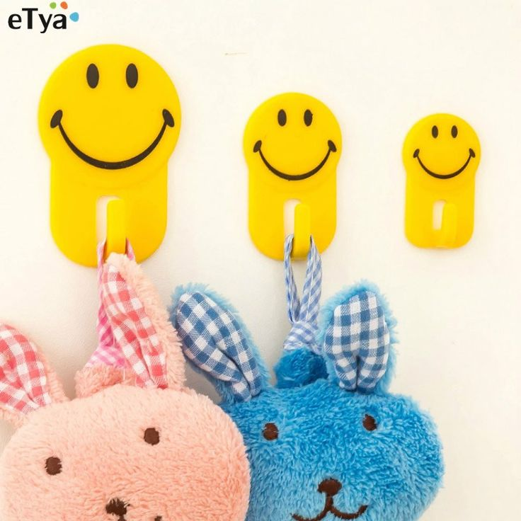 NEW 3Pcs Cartoon Kitchen Cute Smiley Towel Hook Bathrooms Bearing Clothes Hooks Strong Glue Hook #Affiliate