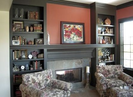 bookcases built around fireplace | These dark built-in shelves around this fireplace provide the perfect ...