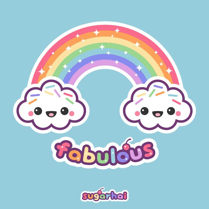 Rainbow Clouds Cute Animal Drawings Kawaii Cute Kawaii Drawings Cute Kawaii Animals