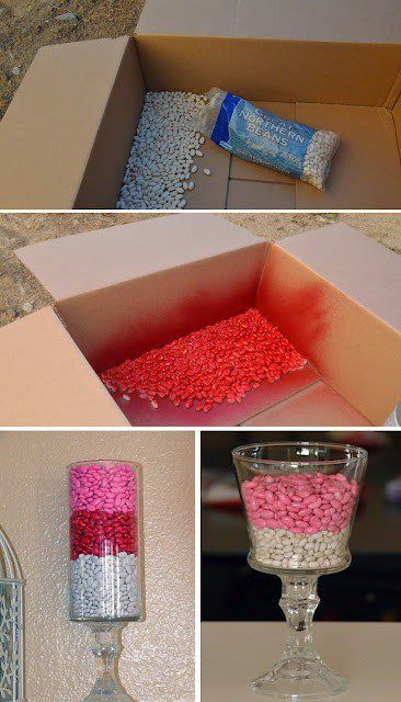 Spray Paint beans for a cheap vase filler. Very clever indeed!