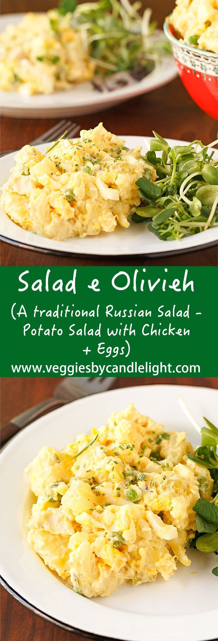 Salad e Olivieh (Potato Salad with Chicken + Eggs) - A traditional salad in Russian cuisine .. with a creamy goodness from mashed potatoes, umami from chicken, & brightness from tangy cornichons, lemon, & peas