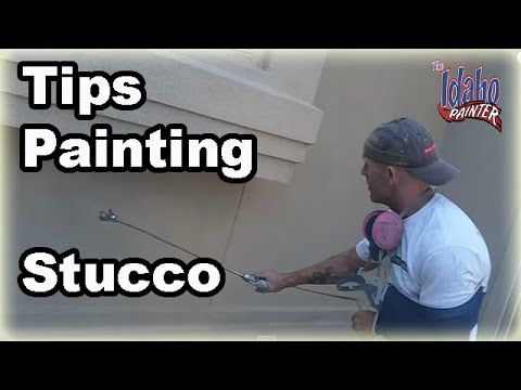 How to prep and paint stucco. he suggests using flat for stucco and satin for board and batten.