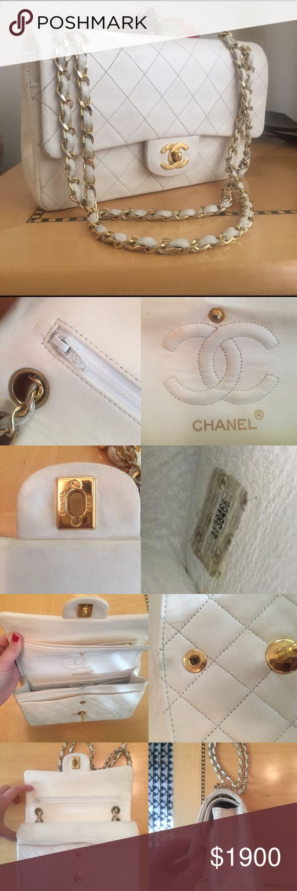 Auth Chanel double flap bag purse Beautiful white double flap Chanel purse. In good pre owned condition with some signs of wear on the leather, particularly the back (see photos). Inside is clean. Serial number in tact. Thanks for looking! Happy to post more photos. CHANEL Bags Shoulder Bags