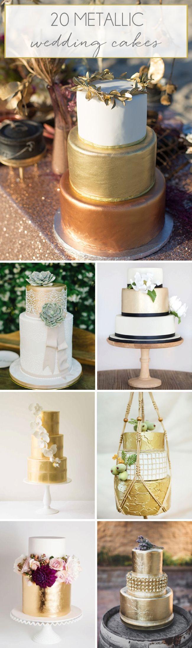 20 Metallic Wedding Cakes | SouthBound Bride | http://www.southboundbride.com/20-more-metallic-wedding-cakes