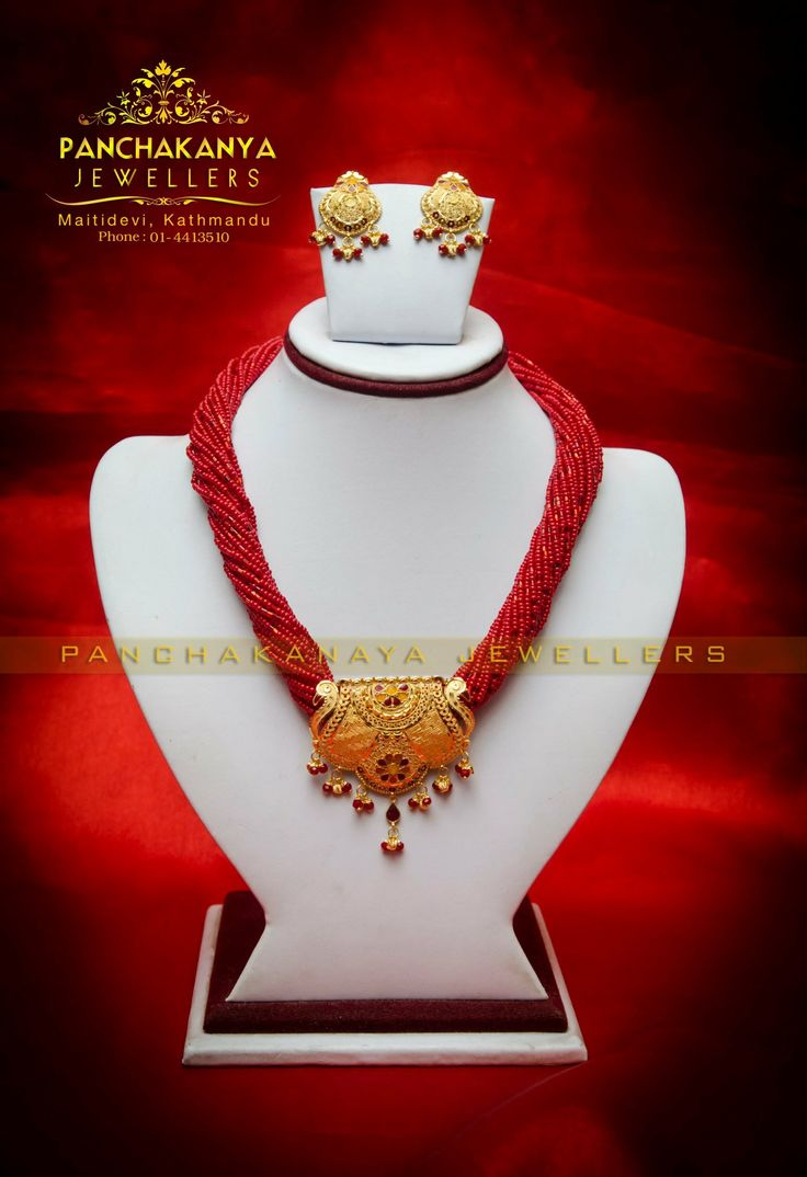 nepali designs red jewellery latest mangalsutra traditional watch beads nepal gold