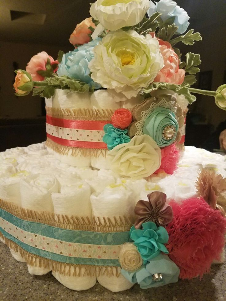 Diaper Shower Ideas, Teal and Coral Baby Shower, Diaper Cake