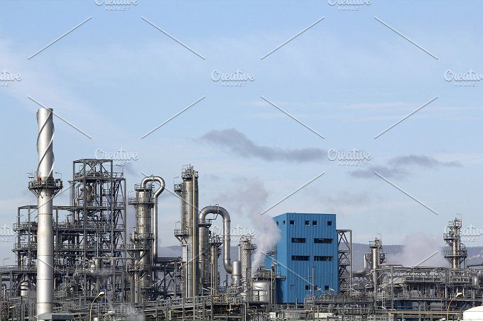 Oil refinery in chemical industry by agafapaperiapunta on @creativemarket $8