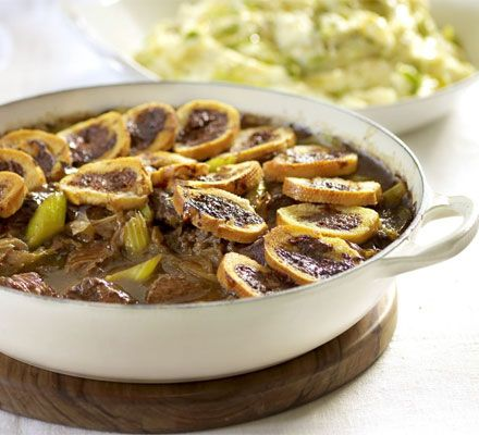 This big beef casserole is all the beefier for its crisp Marmite toasts