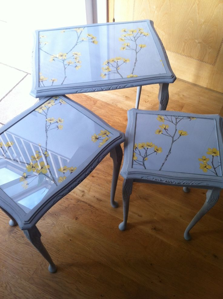 reloved nest of tables. Available for sale at £50. Contact info@doodledash.co.uk for details