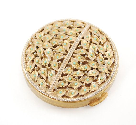 Vintage Gold Compact Mirror, Powder Compact, Purse Compact, Gold Leaf Compact, Turquiose Bead Compact, 1950s 1960s Mad Men Accessory by AVintageJewelryChest, $32.00