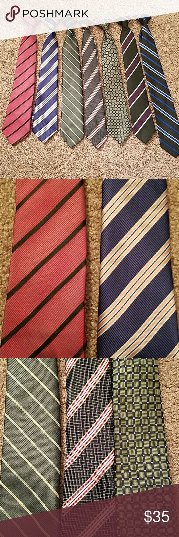 Bundle of 7 boys clip on ties All are clips on ties. The black and blue stripped on (last) measures 17in, while the others measure 15. Various stripped design. Great condition for any occasions. Accessories Ties