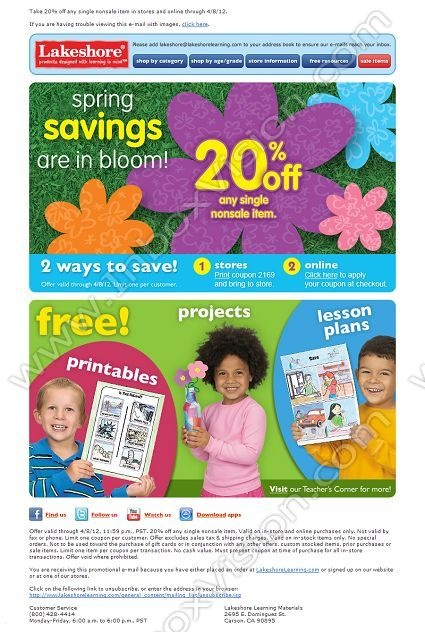 Company:Lakeshore Learning Materials   Subject: Spring Savings! 20% Off         INBOXVISION, a global email gallery/database of 1.5 million B2C and B2B promotional email/newsletter templates, provides email design ideas and email marketing intelligence. www.inboxvision.c... #EmailMarketing  #DigitalMarketing  #EmailDesign  #EmailTemplate  #InboxVision  #SocialMedia  #EmailNewsletters