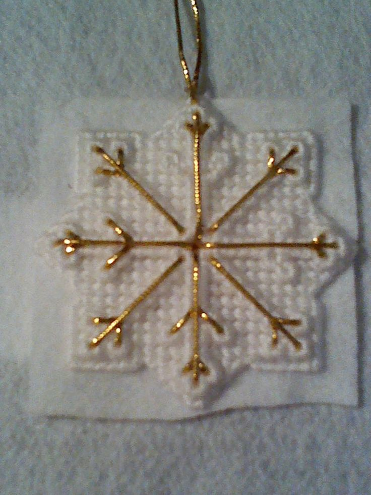Hand-made Plastic Canvas Snowflake Christmas Ornament