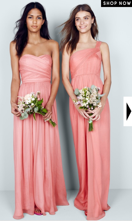 """J.Crew Bridesmaids in """"Arabelle"""" and """"Lucienne"""" (Bright Coral) the color is a little too muted, maybe brighter coral but the cuts are so pretty"""
