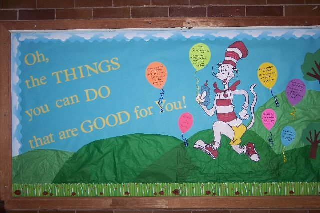Oh, the Things You can Do that are Good for You!  A cute bulletin board that goes with a book about staying healthy.  Would be a cute board for March is Reading Month/Dr. Seuss' birthday.