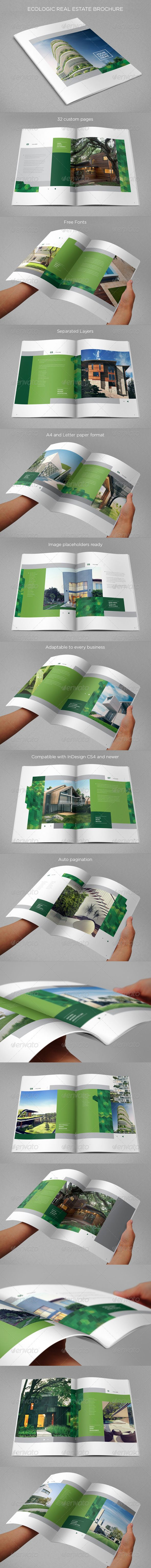 Ecologic Real Estate Brochure — InDesign INDD #a4 #modern • Available here → https://graphicriver.net/item/ecologic-real-estate-brochure/8645126?ref=pxcr