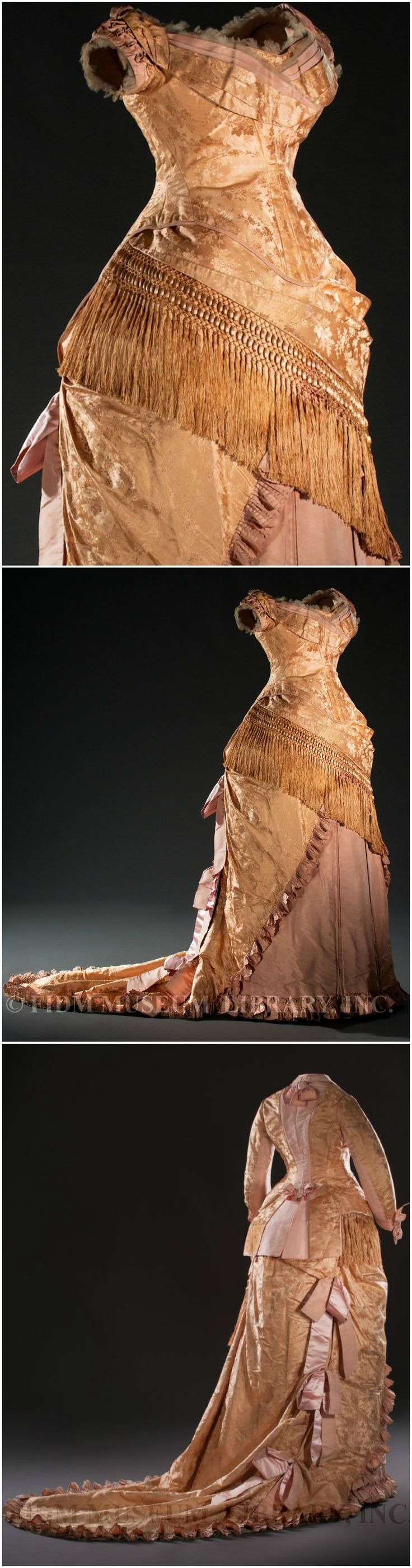 """Robe à transformation, European, c. 1879, Helen Larson Historic Fashion Collection. Via FIDM Museum Blog. FIDM: """"In the second half of the 19th century, the robe à transformation was the ultimate day-to-night fashion statement. It came with two (or more) interchangeable bodices: one with a high neck and sleeves for daytime, and another--sleeveless and low cut--for evening... This beautifully preserved pink and cream silk brocade version was worn in the late 1870s by Queen Louise of Denmark."""""""