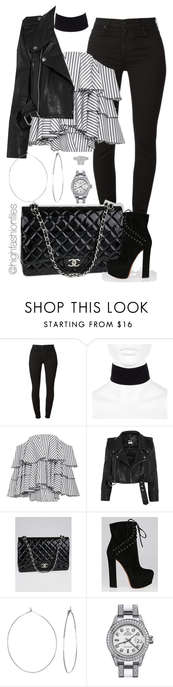 """""""Untitled #2572"""" by highfashionfiles ❤ liked on Polyvore featuring River Island, Caroline Constas, Vetements, Chanel, Alaïa, Phyllis + Rosie and Rolex"""