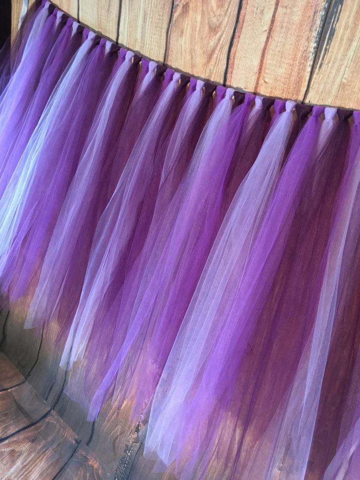 Purple Table Skirt  Purple Tulle Table Skirt  Tutu Table Skirt  Party Table  Skirt