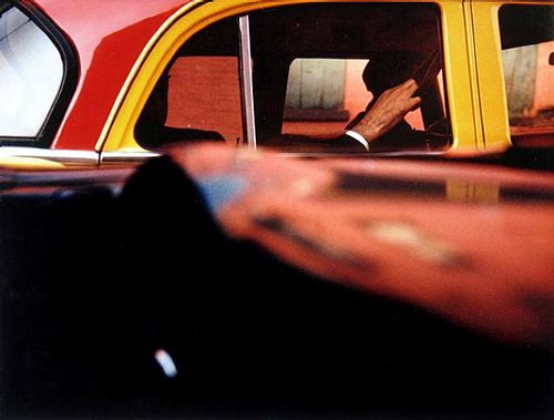 Taxi, New York, 1957 by Saul Leiter So much street photography is done I black and white. I love the colour in this