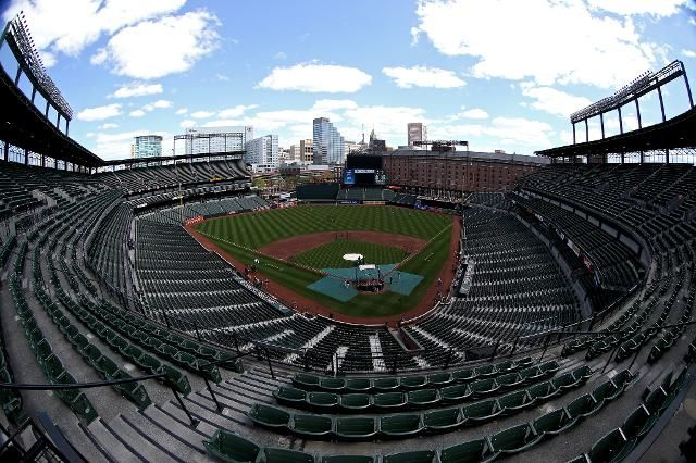 Here's what it looks like inside the Orioles-White Sox game that's closed to the public (more images here)