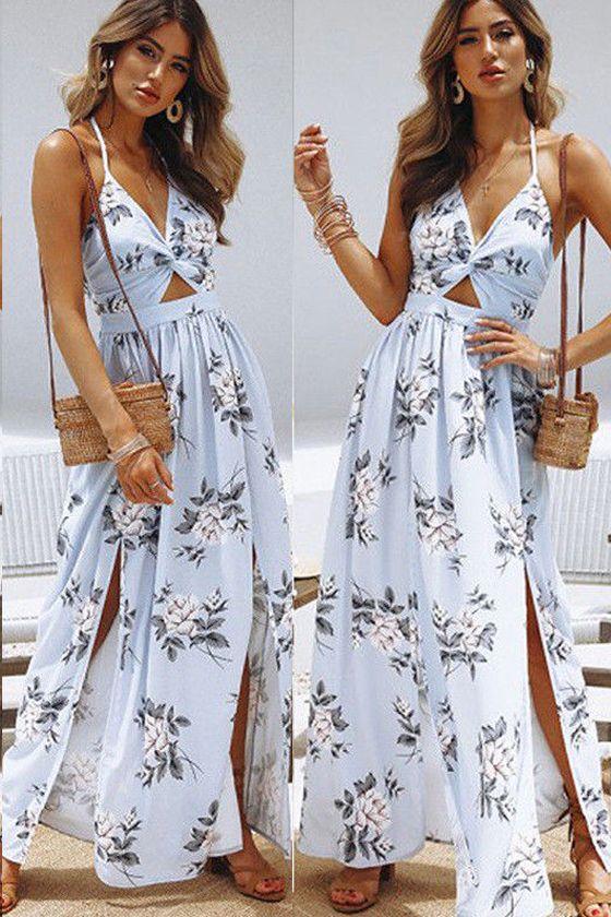 08242cf035200 Women Maxi Dress Long Summer Strappy Floral Print Beach Spilt ...