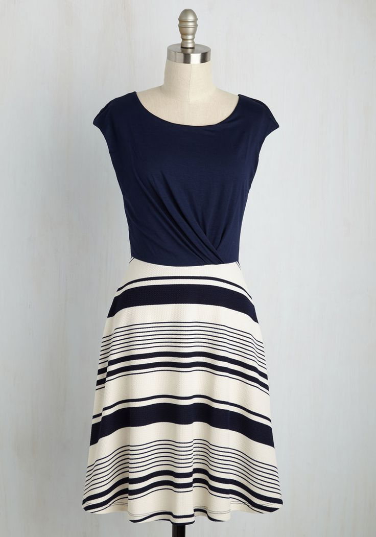 Ramen Rendezvous Dress in Stripes. Don this twofer dress and skip off to your weekly ramen bar lunch date. #blue #modcloth