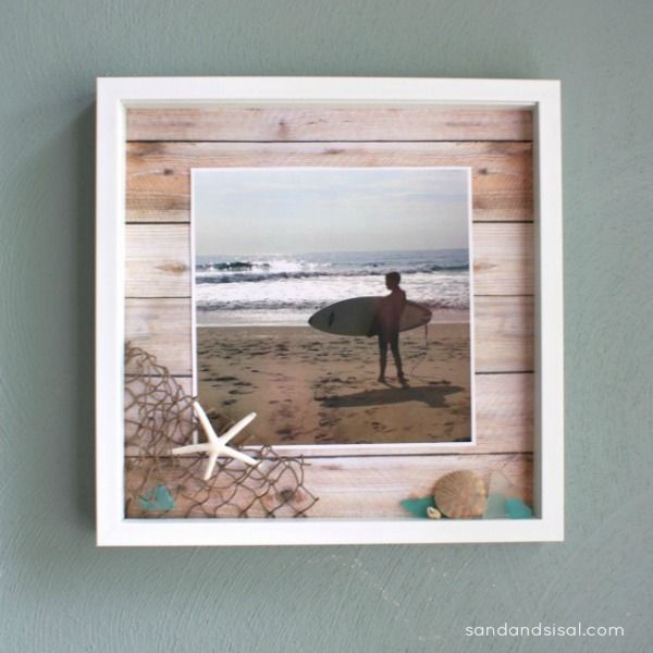 Make a Shadow Box, use scrapbook paper for wood look behind, add shells, seaglass to display, even better things that you found at the beach that day.  Great for a vacation photo and treasures.  Could be used for a photo from the mountains too...think mini pinecones, acorns, rock etc.