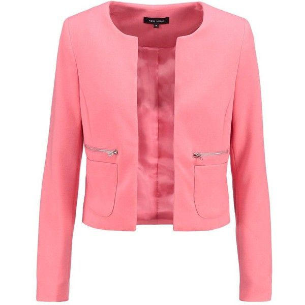New Look Blazer ($31) ❤ liked on Polyvore featuring outerwear, jackets, blazers, jacken, coral, blazer jacket, red blazer jacket, red blazer, short-sleeve jackets and short-sleeve blazers